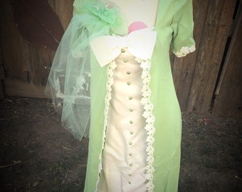 Vintage Hand Made Green and Ivory Dress with Attached Jacket (Twofer) and Bow Tie and Green Netted Whimsey