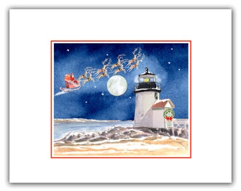 Brant point Lighthouse Nantucket  MA. Christmas lighthouses, new England light house Christmas cards 10 per clear box.cape cod holiday