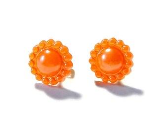 Orange Flower Earrings, Pearly Tangerine Floral Studs, Simple Minimalist Jewelry