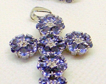 Iolite Cross Necklace AND Earrings,Sterling Silver,Beautiful Blue Purple, Stud Earrings,New Old Stock - Never Worn