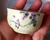 Mini cerami teacup bird wisteria matt finish