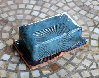 Covered Butter Dish in Slate Blue with Sun Texture - Made to Order