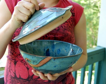 Covered Serving Bowl in Slate Blue and Rust Waves- Made to Order