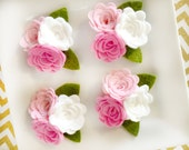 Wool Felt Rose Trio with leaves Pinks - pink - white - hot pink - wool felt hairbow - headband - picture frame - small rose trio