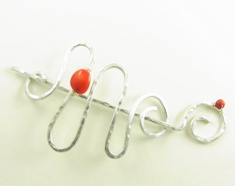 Silver Hair Slide/Barrette/Pin/Clip Abstract Squiggle with Coral Nugget