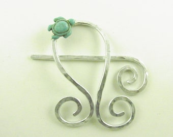 Shawl Pin/Brooch/Clip/ Silver Abstract Note with Turquoise Turtle