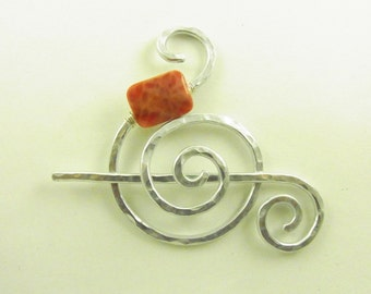 Shawl Pin/Brooch/Clasp Silver Spiral with Genuine Fire Agate