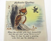 Vintage Halloween Greeting Card with Brown Owl and Witch on Broomstick by Hallmark