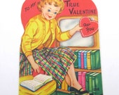 Vintage Children's Novelty Valentine Card with Girl Television or TV Books on Bookshelf