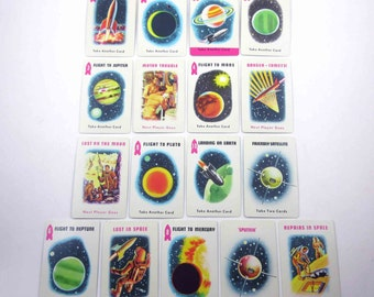 Vintage 1960s Space Race Playing Cards for Children Set of 17