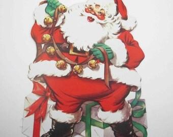 Vintage Christmas Die Cut Santa with Bells Gifts Presents by Eureka NOS
