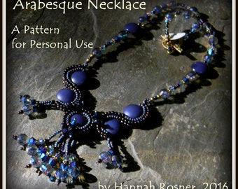 NEWLY RELEASED! Bead Pattern - Arabesque Necklace tutorial instructions - Herringbone by Hannah Rosner for personal use only