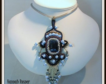 NEWLY UPDATED! Bead Pattern Soutache Filigree Fantasy Pendant tutorial instructions - peyote stitch and embroidery beading
