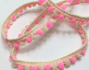 5 yards of Slightly Glitter Multicolored Mini Pom Pom Trim Fixed Pom Pom size 0.5 cm - Cream and Hot Pink