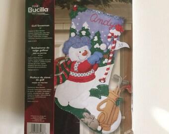 Bucilla Felt Christmas Stocking Kit - Golf Snowman - Unopened