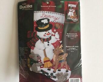 Bucilla Felt Christmas Stocking Kit - Snowman and Friends - Unopened