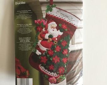 Bucilla Felt Christmas Stocking Kit - Poinsetta Tree - Unopened