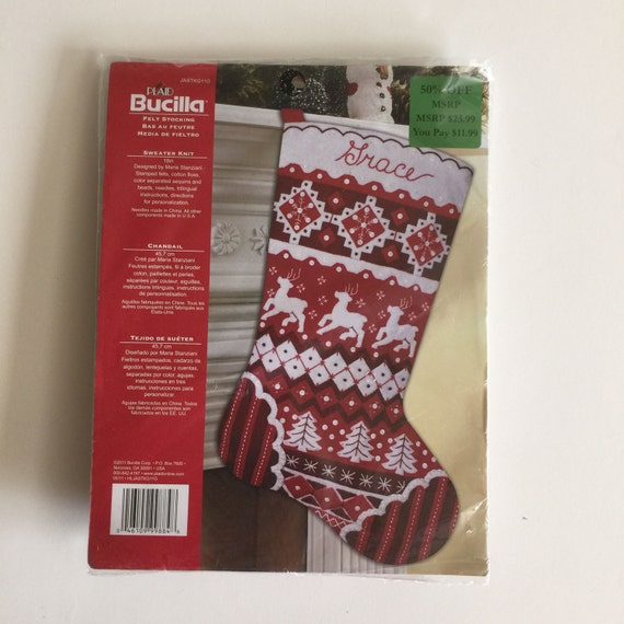 Knit Pattern For Christmas Stocking Kit : Items similar to Bucilla Felt Christmas Stocking Kit ...