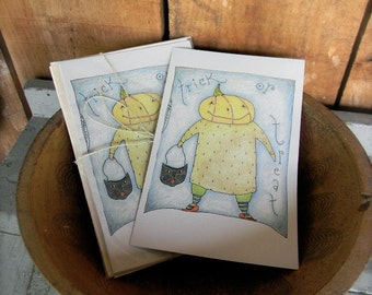 Trick or Treat - LIMITED EDITION Folk Art Notecards - from Notforgotten Farm™