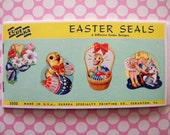 Vintage Unused Easter Seals by Eureka Bunny Rabbit Chick Easter Basket Egg Stickers
