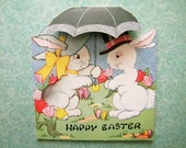 Vintage Easter Card Two Bunnies Under an Umbrella