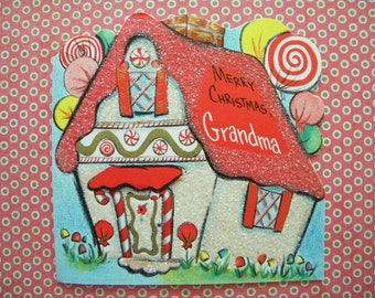 Vintage Christmas Card with Candy Cottage House and Glitter