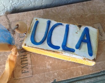 UCLA Bruins College School Spirit Blue and Gold Key Chain or Ornament with beads OOAK salvaged wood primitive