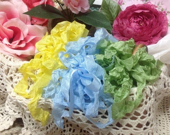Spring Delight....Yellow Green And Blue Seam Binding Ribbon Hand Crinkled Ribbon