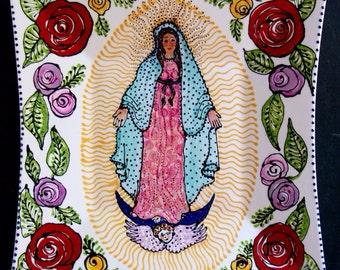 Guadalupe and Roses Ceramic Platter