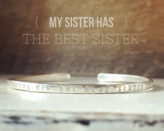 Personalized Cuff Bracelet| Sisters | Custom | My Sister Has the Best Sister| Dainty | Whisper Cuff by Elena Grace | Stacking