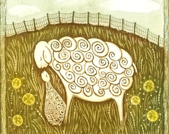 etching, mother and child art print, new baby art, nursery art print, family art, green, yellow, sheep, lamb, printmaking, limited edition