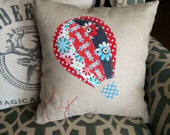 """Hot air balloon throw pillow 14"""" square decorative pillow linen applique"""