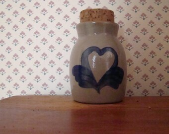 Beaumont Brothers Pottery BBP Stoneware Spice Jar Vase with  Cobalt Heart