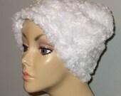 FREE SHIP USA Cancer, Chemo Hat, White Furry  Comfort Hat, Alopecia, Turban
