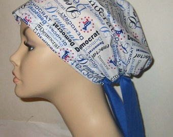 Democratic Party Print Chemo Hat, Cancer Scarf, Modest Hat