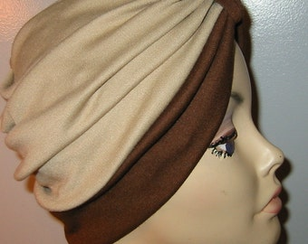 Stretch Knit 2-Tone Brown and Camel Chemo Hat, Snood, Womens Hat, Cancer, Yoga, Alopecia