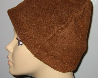 Brown Fleece Cancer Anti Pill Fleece Hat, Winter Hat, Chemo Hat, Alopecia