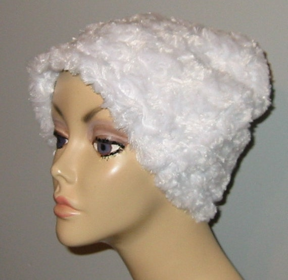 Cancer, Chemo Hat, White Furry  Comfort Hat, Alopecia, Turban