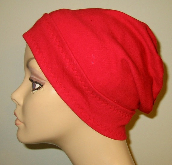 Red Slouch Chemo Cap, Cancer Hat, Alopecia, Modest Hat,