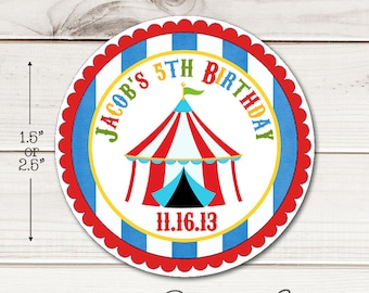 Circus Tent Round Sticker Labels