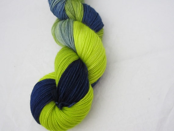 Blueberries & Lime - Dyed to Order - Hand Dyed - Merino Wool Yarn - Fingering Weight