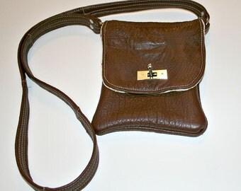 Recycled Coffee Brown Cell Phone Sak Pouch Carrier Cross Body