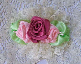 Wedding,Handmade, Victorian Ribbon Rose, Bridal Barrette, Flower Girl, Birthday Party, Special Occaisions, Hair Accessories