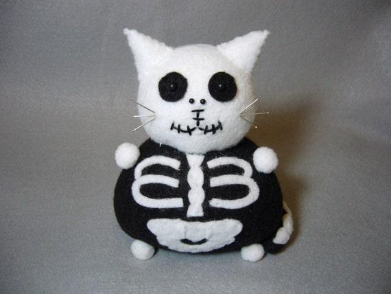 Skeleton Cat Pincushion