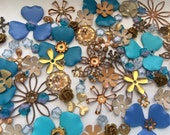 Vintage Enamel, Brass & Glass Flower Findings Beads (90+)(Blue by You)
