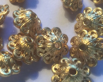 Vintage Brass Filigree Beads (4)(15x12mm) Beautiful Brass Beads