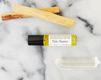 Palo Santo Gemstone Aromatherapy for Spirituality with Clear Quartz, Ritual Oil, Essential Oil, Holy Wood, Energy Cleanse, Anointing Oil