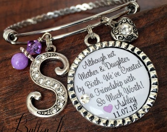Step mother of the bride gift, Step mom, PERSONALIZED bracelet, rehearsal dinner gift, Thank you for loving me as your own, silver bangle