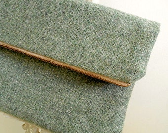 SALE Heather wool clutch foldover, iPad case, large utility pouch, sage green - eco salvaged fabrics