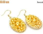 ON SALE Vintage Yellow Carved Cameo Gold Earrings